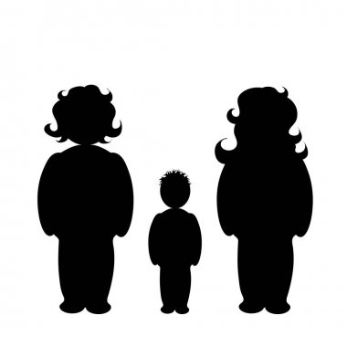 Homosexual family with child. Vector silhouette on white background. Illustration of lesbian icon. icon
