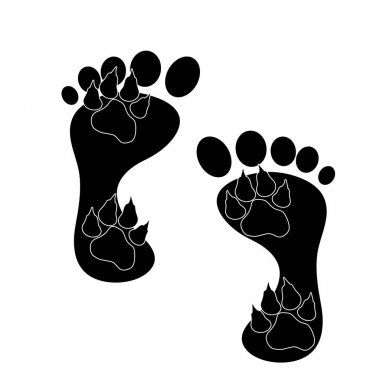 Vector silhoutte of feet and animal on white background. Symbol of love. icon