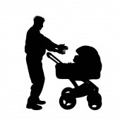 Vector silhouette of grandfather with baby carriage on white background. Symbol of baby, child, family.
