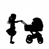 Vector silhouette of girl with toy baby carriage on white background. Symbol of child, childhood.