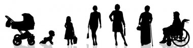 Silhouette  of generational people.