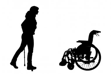 Vector silhouette of disabled woman.