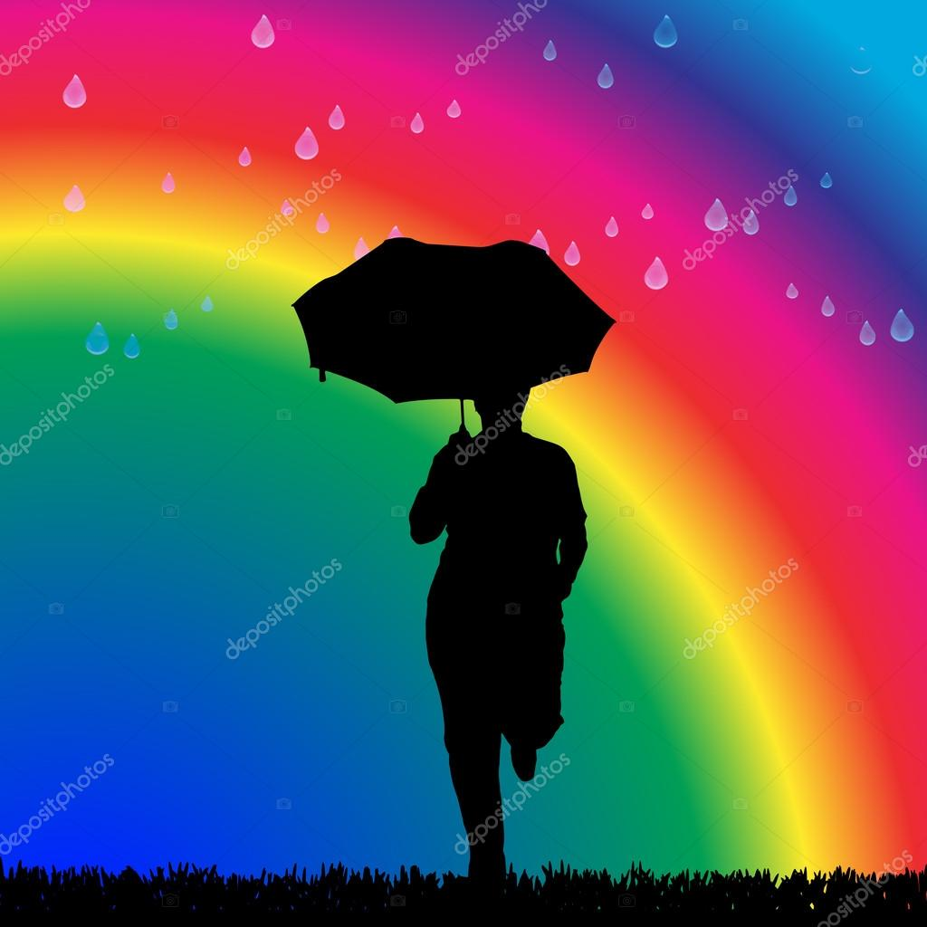 Woman in the rain on a rainbow