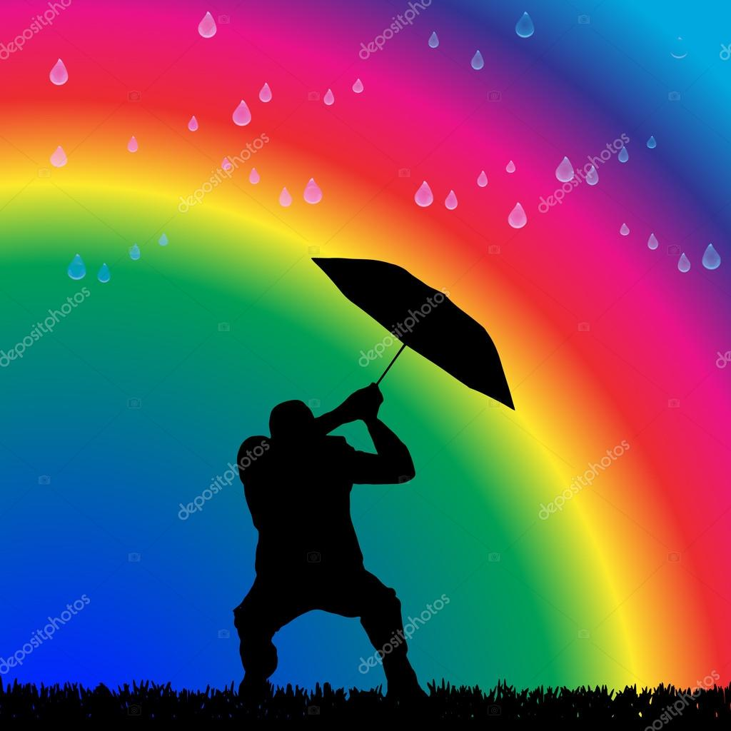Man in the rain on a rainbow