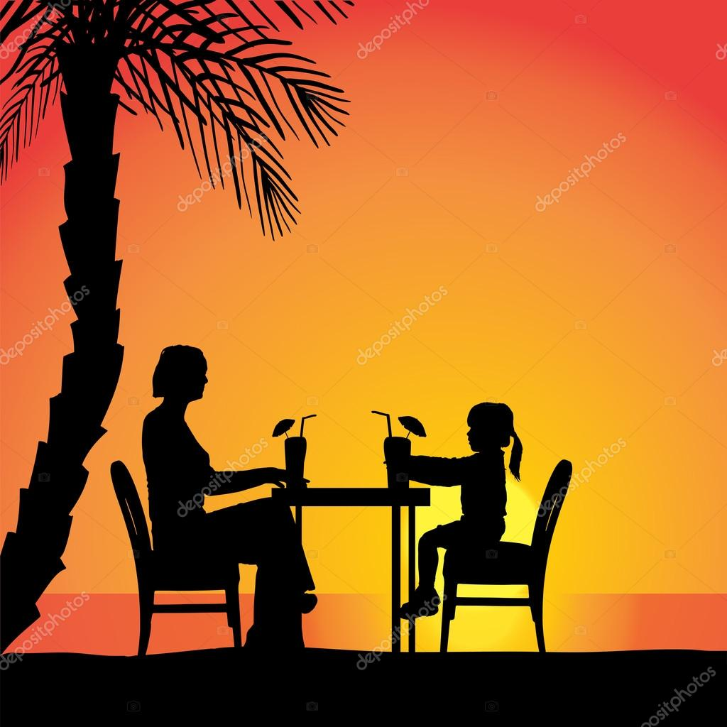 Couple sitting at the table.