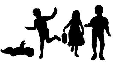 Silhouette of children.