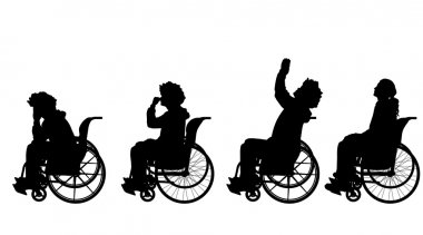 Men in  wheelchair.