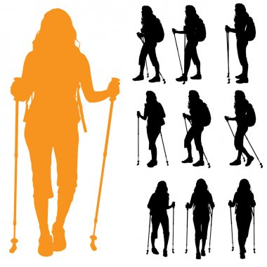 Women with Nordic walking.