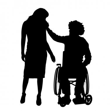 Man in wheelchair with girl.