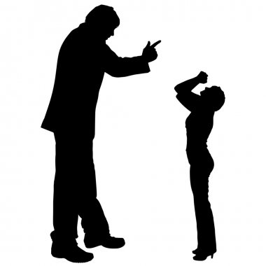 Silhouette of couple who argues