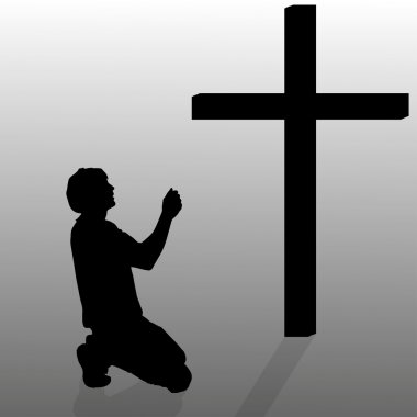 Man who kneels near cross.
