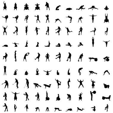 Silhouettes of sport people