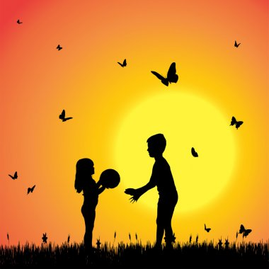 Silhouette of a children with butterflies.
