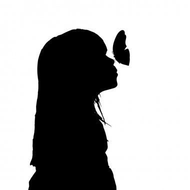 Silhouette of a girl with a butterfly.