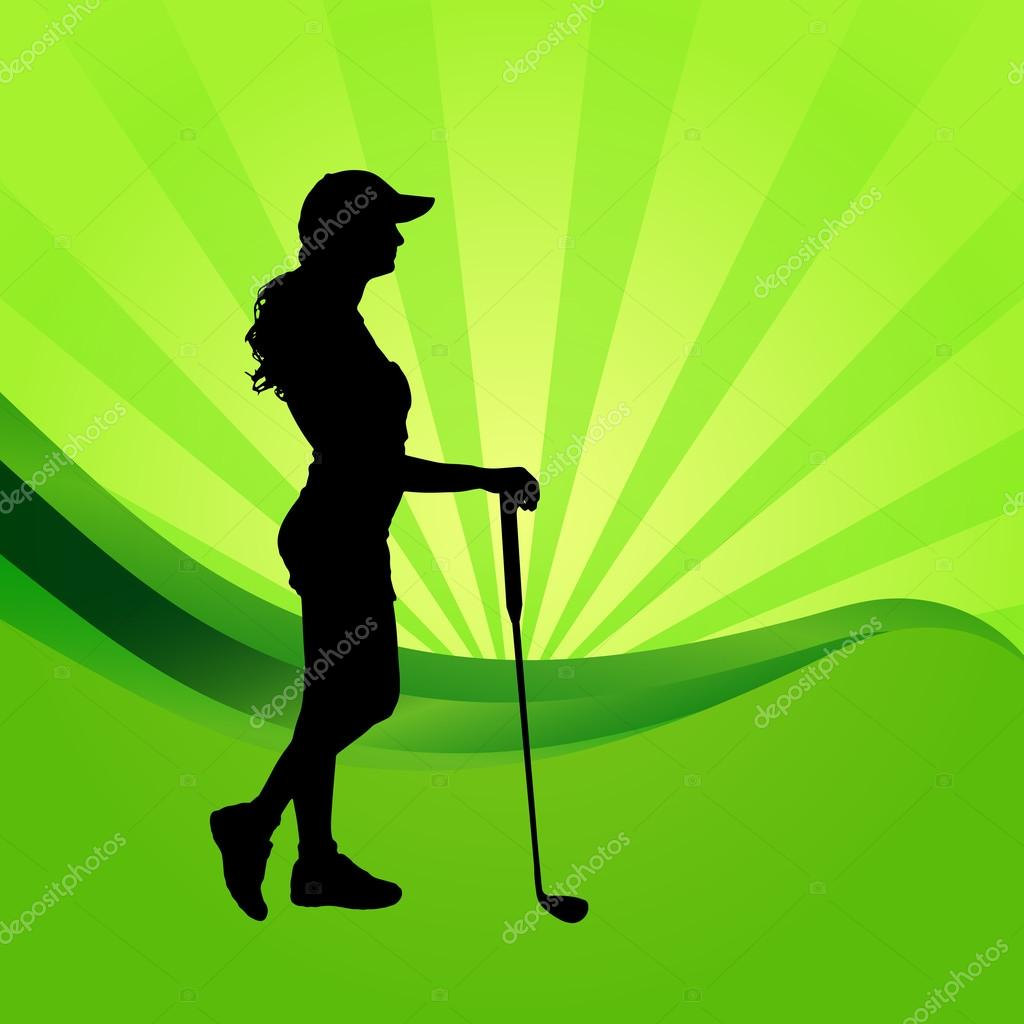 Silhouette Of Woman Playing Golf Stock Vector C Majivecka 69989807