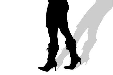 silhouette of female feet.