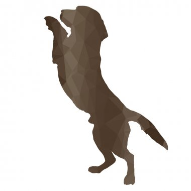 Low poly silhouette dog