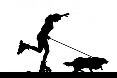 Woman on rollerblades with his dog.