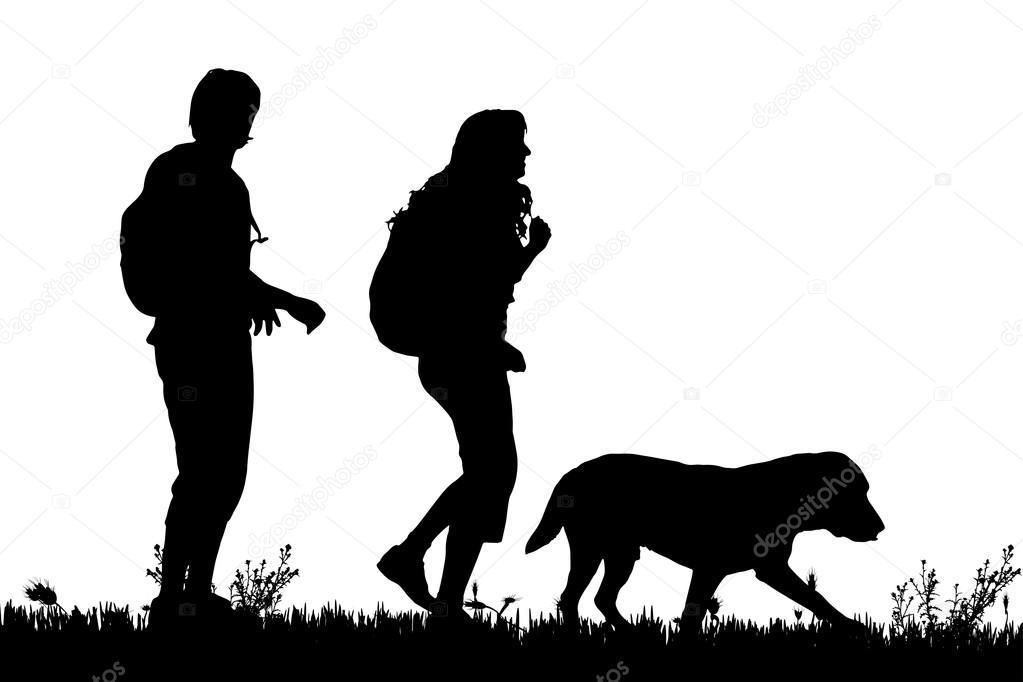 silueta de una pareja con un perro � vector de stock
