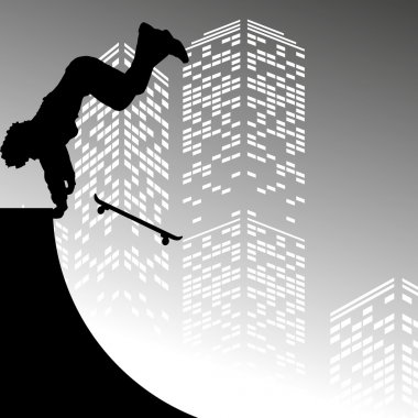 silhouette of skateboarder on skyscrapers background