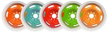 Powder coating of wheel disks