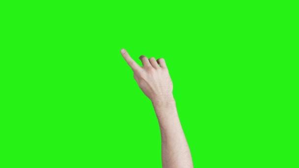 Video mužských rukou s gesty pro gadgets na zeleném pozadí