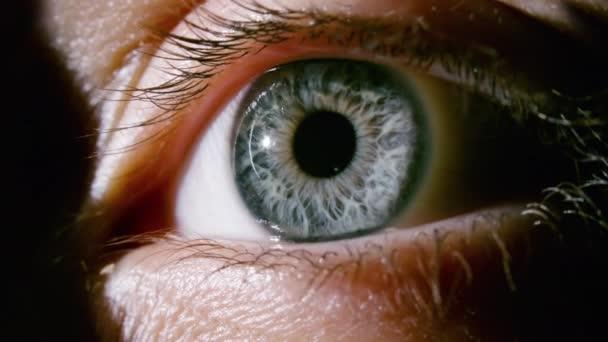 Nahaufnahme eines weiblichen grauen Auges mit sich erweiternder Pupille