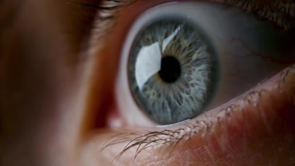 Close-up-Video von weit geöffneten weiblichen grauen Augen