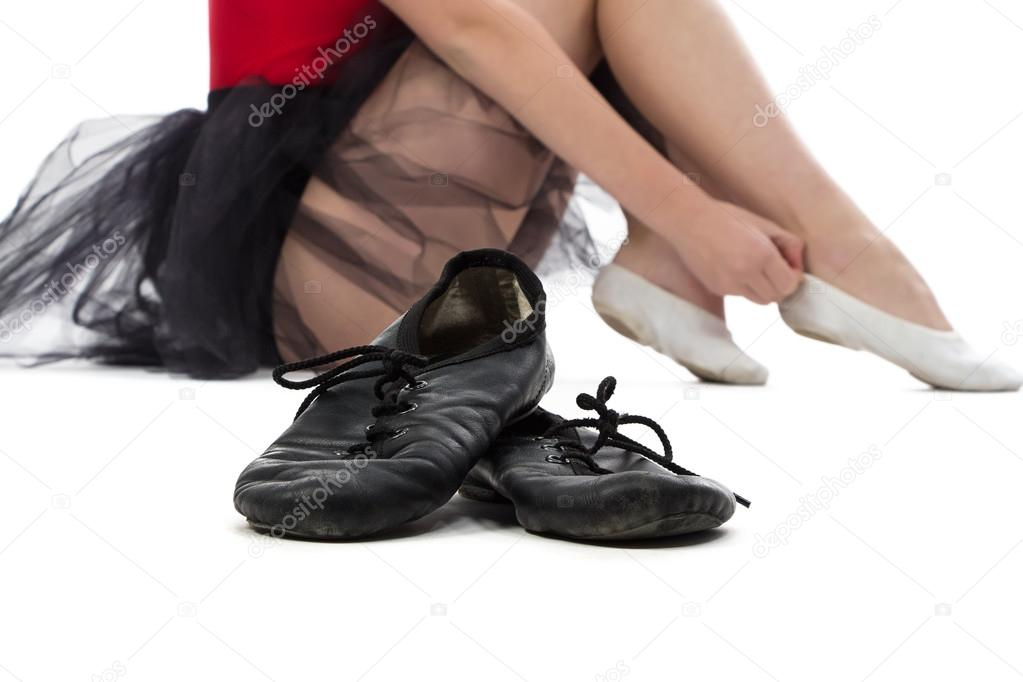 Photo of ballet shoes on the floor