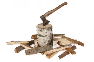 Image of axe in the stump and woods