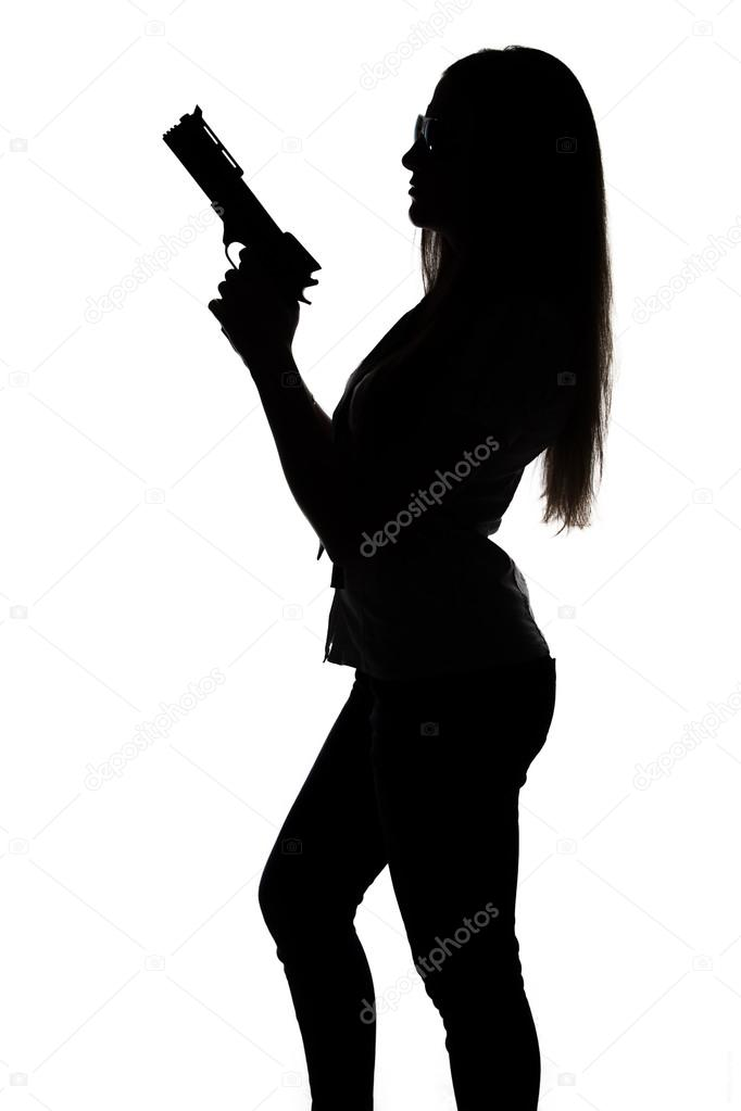 Silhouette der sexy Frau