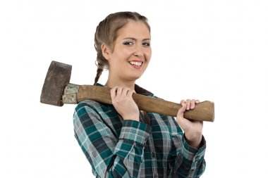 Photo of smiling woman with axe