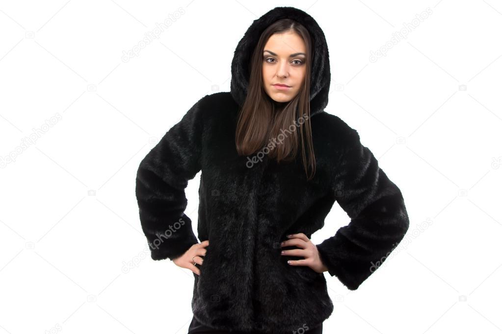 buy popular 98d60 1b3fb Foto di donna in pelliccia nera con cappuccio — Foto Stock ...