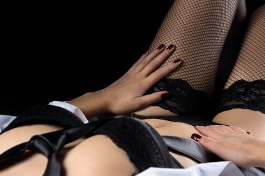 Photo of lying woman in black lingerie