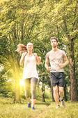 Fotografie Glückliches Paar Joggen im Park - junger Mann und Frau, die Freigabe von Training und Sport-Aktivitäten - männliche und weibliche Fitness Modelle zusammen laufen in der Natur bei Sonnenuntergang