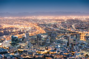 Aerial view of Cape Town from Signal Hill after sunset during the blue hour - South Africa modern city with spectacular nightscape panorama