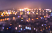Defocused bokeh of Prague and Vltava river from Letna Hill - Romantic view after misty sunset with emotional color filter - European capital of bohemian Czech Republic