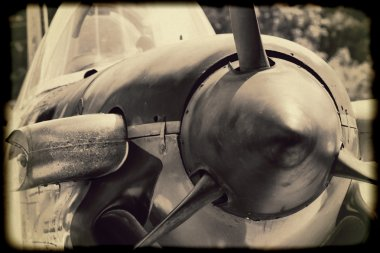 Navy World War II T-34 Mentor Trainer 702 Aircraft in Sepia Tones