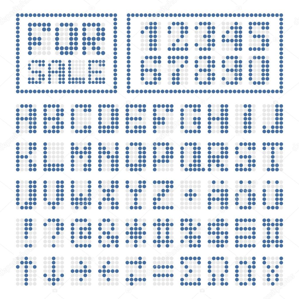 dotted digital font blue alphabet letters and numbers on white some special characters signs and borders vector by drawnkeeper