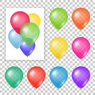 Set of party balloons on transparent background. Different colored realistic balloons vector illustration. stock vector