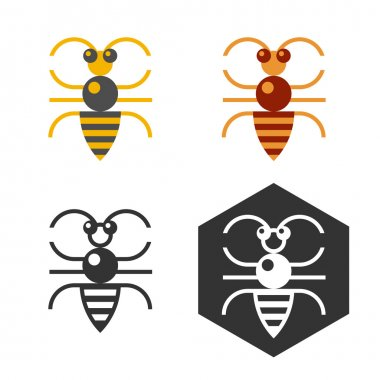 Abstract bee flat vector element.