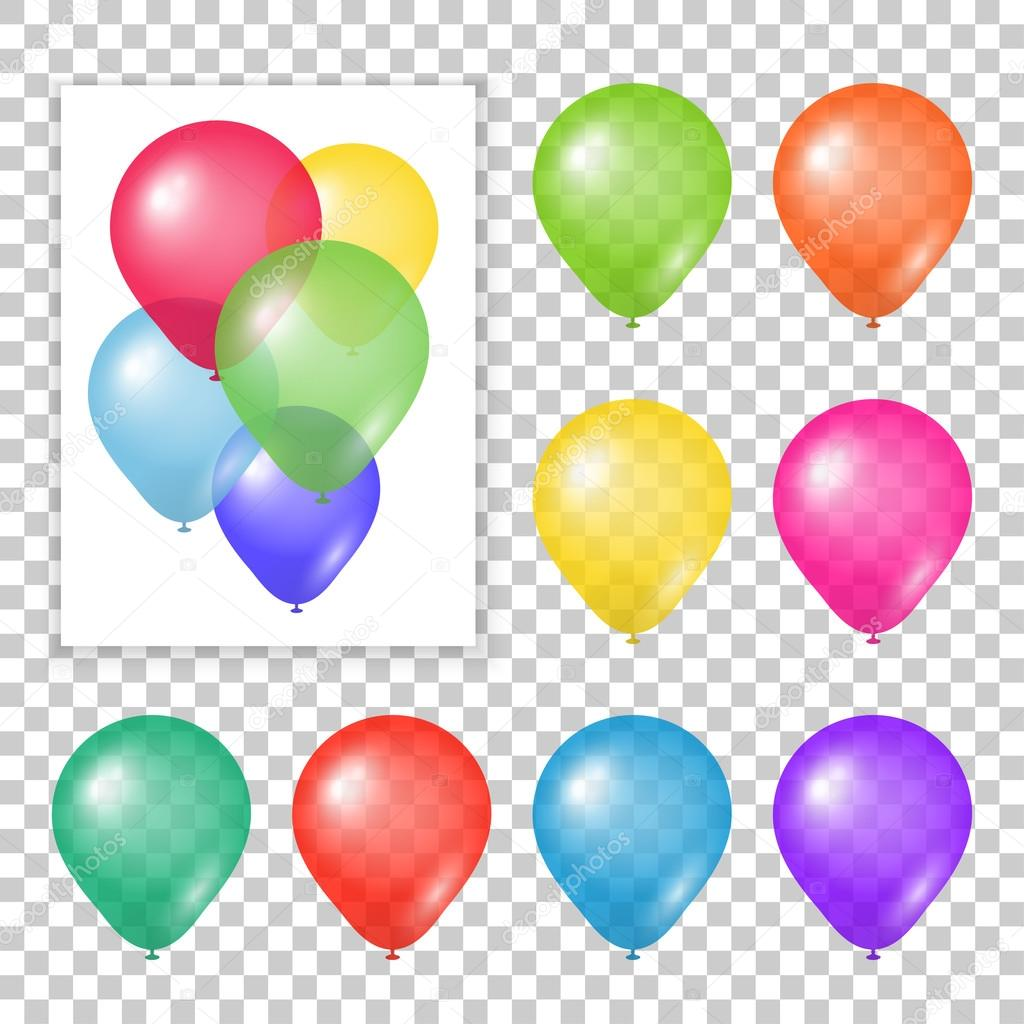 Set of party balloons on transparent background.