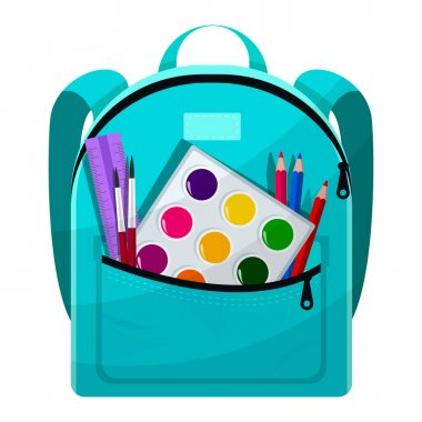 Colored school backpack. Education, schoolbag luggage, rucksack. Kids school bag with education equipment. Backpacks with study supplies. Student satchels. Vector illustration icon