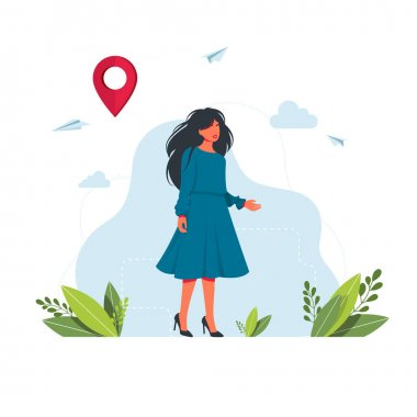 A woman is looking for a way, a way out of the situation on the navigator. maps, get directions metaphors. Geolocation point marker for navigation system.Vector illustration icon