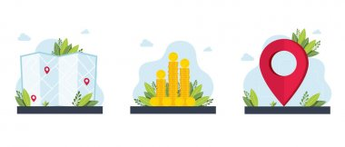 Fees and funding,maps,get directions metaphors.destination,wealth. GPS navigation service application.Business investment and money savings cliparts set. Vector isolated concept metaphor illustrations icon