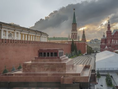 Sunset and storm clouds over Red Square and Lenin's mausoleum after the rain. Moscow. Russia