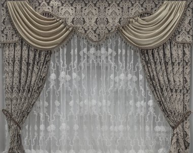 Interior decorating with tulle and curtains with lambrequins