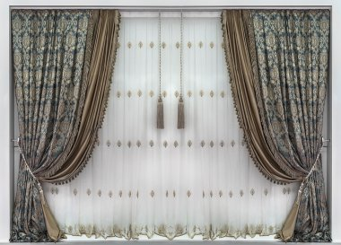 Curtains and the blinds with the  floral ornament