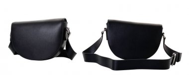 Black women's handbag made of genuine leather with a wide shoulder strap. A crescent-shaped bag closes with a flap. Front and back view.jpg