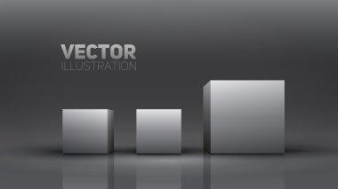 3D cubes. Vector illustration.